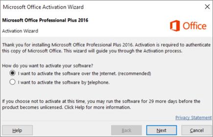 Menunjukkan Bestari pengaktifan Office yang mungkin muncul selepas anda memasang Office.