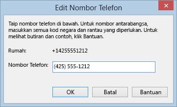 Contoh nombor telefon Lync menunjukkan format pendailan antarabangsa