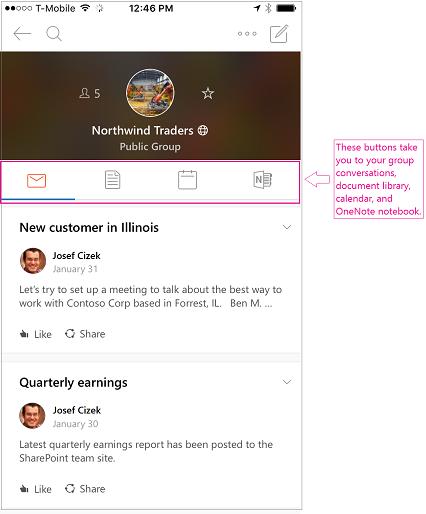 Pandangan perbualan kumpulan dalam aplikasi mudah alih Kumpulan Outlook