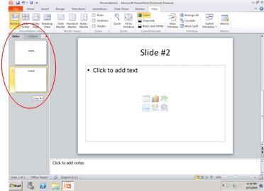 Anak tetingkap yang mengandungi tab Rangka dan Slaid