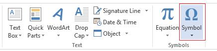 Pada tab Masukkan, klik Simbol.