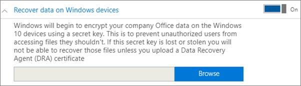 Semak lalu ke Sijil ejen Pemulihan Data.