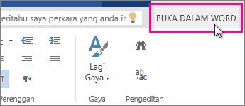 Buka dalam Word dari pandangan Edit dalam Word Online