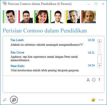 Petikan skrin bagi sembang berterusan dengan 6 peserta