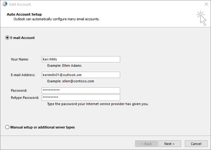 Menggunakan Persediaan Akaun Auto untuk menambah akaun e-mel sebagai sebahagian daripada profil baru dicipta untuk Outlook