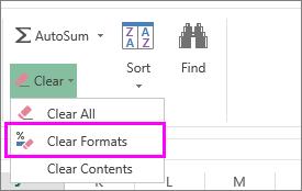menggunakan butang kosongkan format untuk mengalih keluar pemformatan