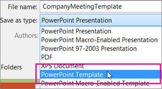 Menyimpan sebagai Templat PowerPoint