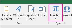 Butang Persamaan pada reben Excel 2016