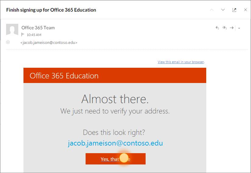 Petikan skrin bagi skrin pengesahan muktamad untuk Office 365 Daftar Masuk.