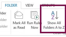 Susun folder anda mengikut abjad dengan mengklik Tunjukkan Semua Folder A hingga Z.