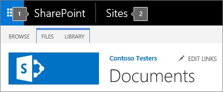 SharePoint 2016 penjuru kiri bahagian atas skrin yang menunjukkan pelancar aplikasi dan tajuk