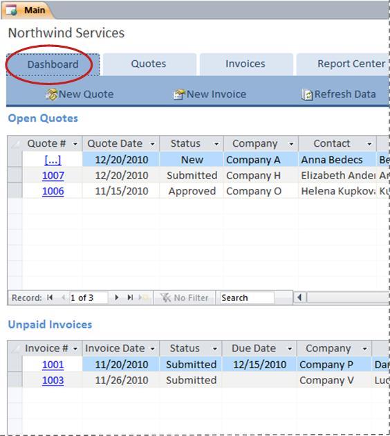 Tab papan pemuka bagi templat pangkalan data Services
