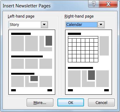 Tambah halaman baru kepada surat berita anda dengan dialog Selitkan Halaman Surat Berita.