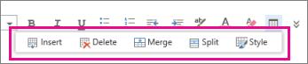Alat pemformatan jadual dalam Outlook Web App
