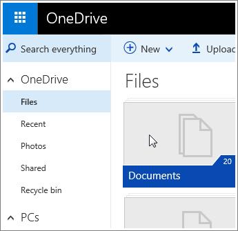 Petikan skrin folder Dokumen dalam OneDrive.