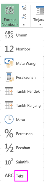 Format teks untuk nombor