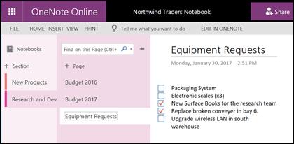 Mengumpul dan bekerjasama pada Nota dan idea dalam buku nota OneNote kongsi anda