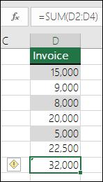 Excel memaparkan Ralat apabila formula melangkau sel dalam julat