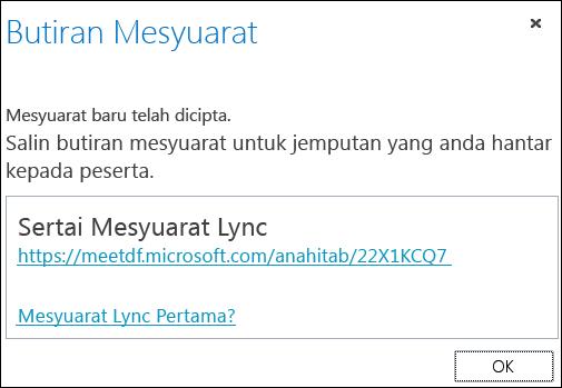 Petikan skrin tetingkap Butiran Mesyuarat