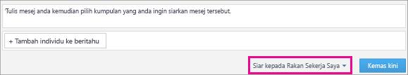 Petikan skrin suapan Komen Aplikasi Yammer untuk SharePoint dengan menu Siar pada senarai juntai diserlahkan