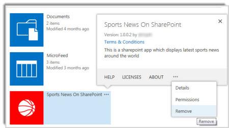 Petikan skrin perintah alih keluar pada petak bual sifat untuk aplikasi.