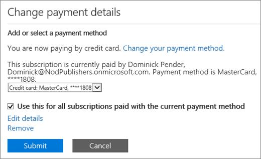 Anak tetingkap butiran bayaran ubah bagi langganan yang dibayar dengan kad kredit, tetapi yang layak untuk mengubah kepada invois.