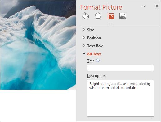 Imej lake glasier baru dengan kotak dialog Format gambar yang menunjukkan teks alt yang dipertingkatkan dalam medan perihalan.