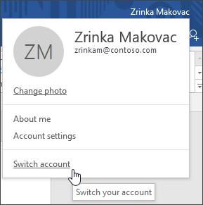 Petikan skrin yang menunjukkan cara untuk ahli sihir akaun dalam aplikasi desktop Office
