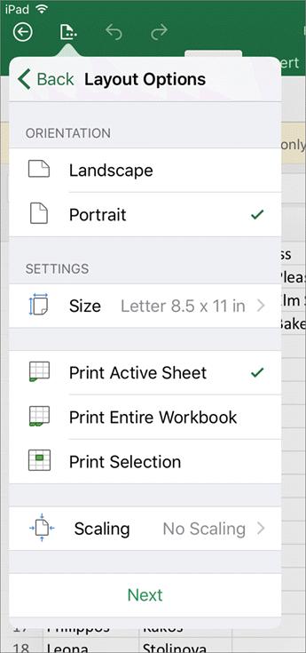 Dialog seting cetak dalam Excel untuk iOS membolehkan anda mengkonfigurasikan cara mencetak lembaran kerja anda.