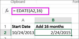 Menggunakan formula EDATE untuk menambahkan bulan pada tarikh