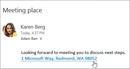 Petikan skrin mesej e-mel dengan teks tentang mesyuarat dan alamat Mesyuarat bergaris bawah untuk menunjukkan bahawa ia boleh dipilih untuk melihat dalam peta Bing.