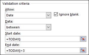 Seting kriteria pengesahihan untuk mengehadkan entri tarikh rangka masa tertentu