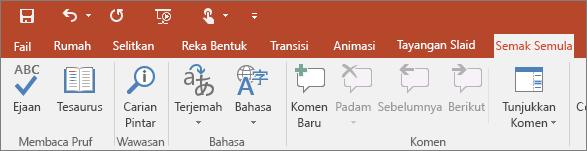 Menunjukkan tab semak semula pada reben dalam PowerPoint