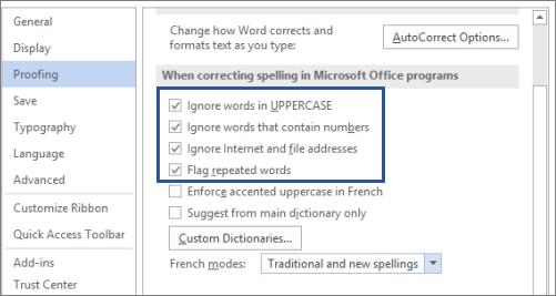 Opsyen untuk mengabaikan perkataan apabila membetulkan ejaan