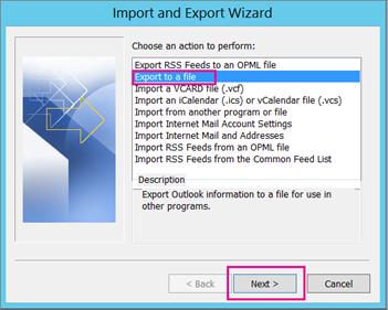 Pilih eksport ke fail dan kemudian pilih berikut.