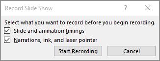 Menunjukkan dialog rakam tayangan slaid dalam PowerPoint