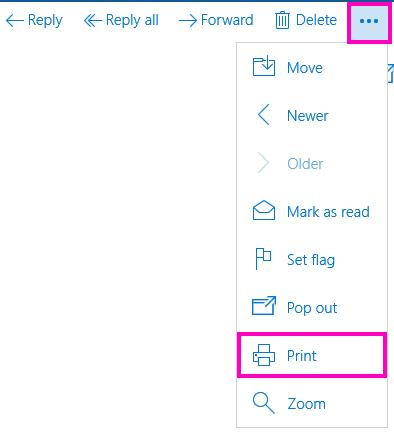 Cetak mesej e-mel dalam Mel untuk Windows 10