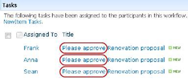 Tugas dalam senarai halaman Status Aliran Kerja dengan Sila Semak Semula ditonjolkan