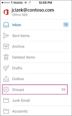 Kumpulan adalah nod pada senarai folder dalam Outlook mudah alih