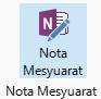 Petikan skrin ikon nota mesyuarat pada reben permintaan mesyuarat