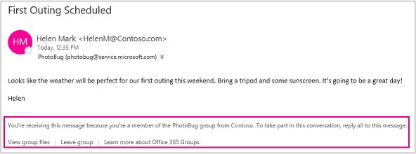Semua e-mel yang tetamu menerima daripada ahli Kumpulan akan mempunyai pengaki dengan arahan dan pautan