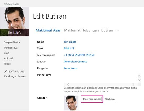Petikan skrin Ubah gambar SharePoint dengan butang Muat naik gambar diserlahkan