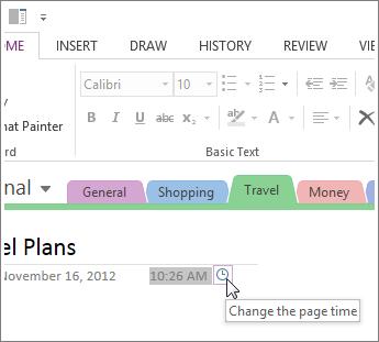 Anda boleh mengubah masa ciptaan halaman dalam OneNote.