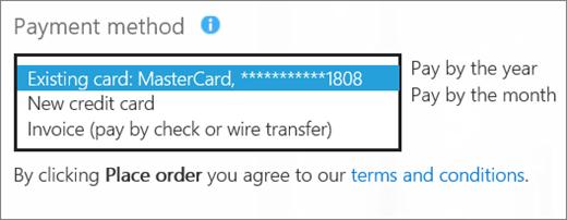 Petikan skrin yang ' Seksyen kaedah pembayaran cara yang anda ingin membayar?' halaman dengan kotak juntai bawah opsyen pembayaran yang dikembangkan.