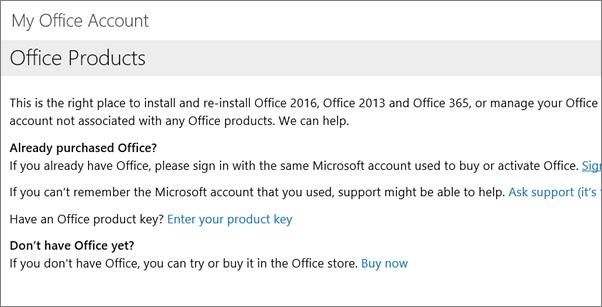 Halaman yang anda lihat jika anda mendaftar masuk ke akaun Office saya menggunakan salah e-mel dan kata laluan