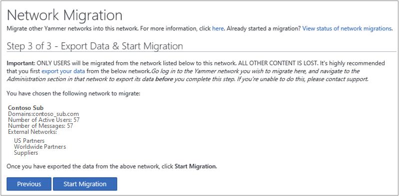 Petikan skrin Langkah 3 daripada 3 - Eksport Data & Mulakan Migrasi