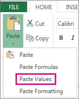 Perintah Tampal menunjukkan Tampal Nilai dalam Excel Web App