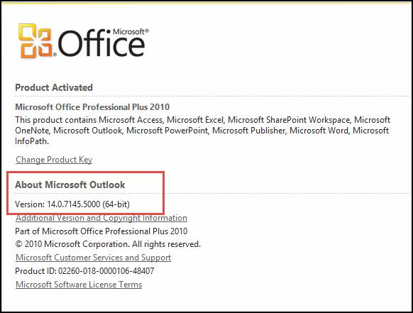 Petikan skrin bagi halaman yang anda boleh semak versi Outlook 2010, di bawah Mengenai Microsoft Outlook