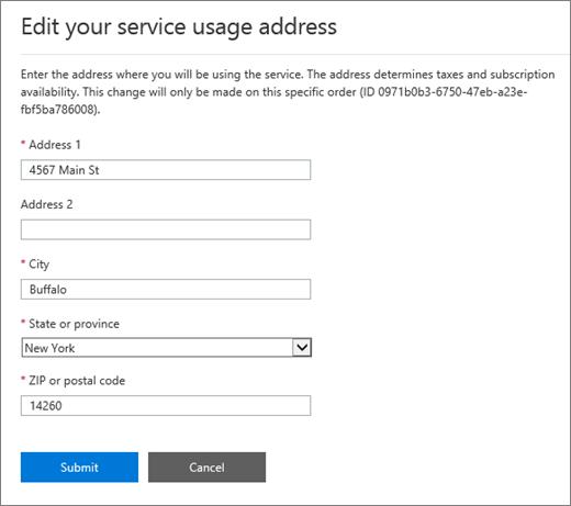 Petikan skrin tetingkap Edit alamat penggunaan Perkhidmatan.