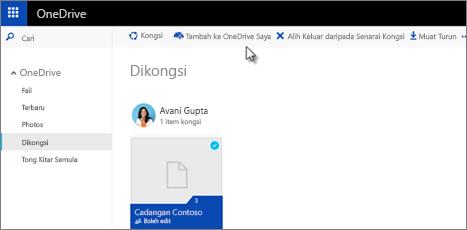 Tambah folder kongsi ke OneDrive